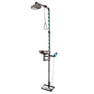 Full Stainless Steel Floor Mounted Emergency Shower & Eyewash Combination